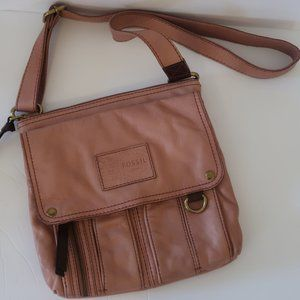 Fossil Pink Leather Cross Body Bag